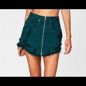 Carmar-denim Bottle Green Beatrice Zip Front Skirt